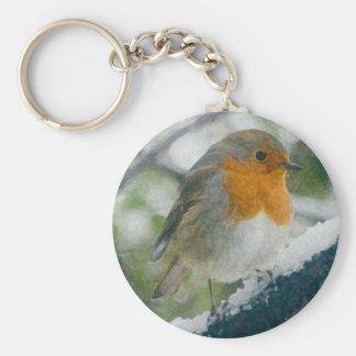 Snowy Robin Keychain