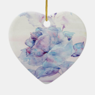Snowy rose ceramic heart decoration