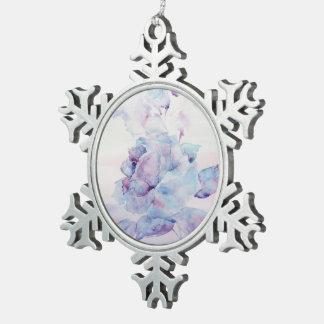 Snowy rose pewter snowflake decoration