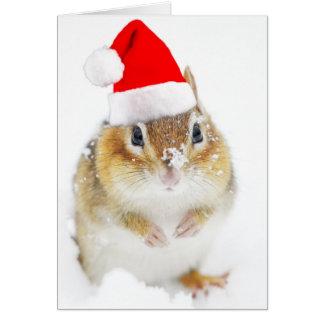 Snowy Santa Chipmunk Card