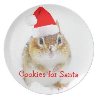Snowy Santa Chipmunk Plate
