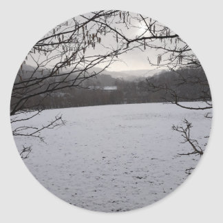 Snowy Scene Classic Round Sticker