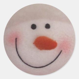 Snowy Snowman Classic Round Sticker