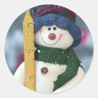 Snowy Snowman Round Sticker