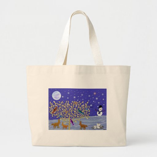 Snowy, Snowy Night Canvas Tote Tote Bags
