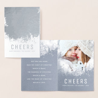 Snowy Splashes Christmas and Holidays Photo Foil Card