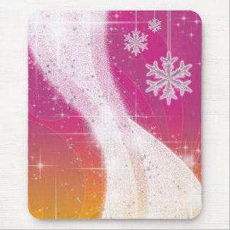 Snowy Star Ribbon (bright pink & yellow) Mouse Pad