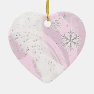 Snowy Star Ribbon (light pink) customize Ceramic Heart Decoration