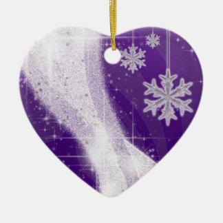 Snowy Star Ribbon (rich purple) customize Ceramic Heart Decoration