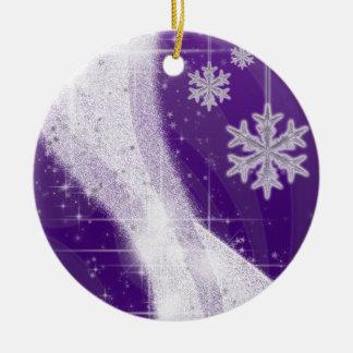 Snowy Star Ribbon (rich purple) customize Round Ceramic Decoration