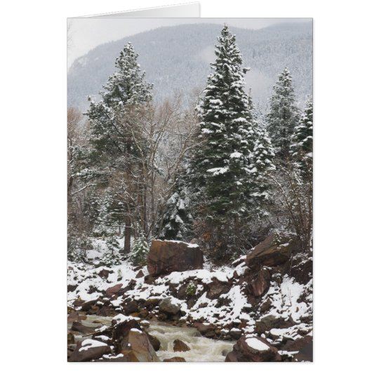 snowy stream holiday greeting card