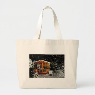 snowy summer house winer scene canvas bags