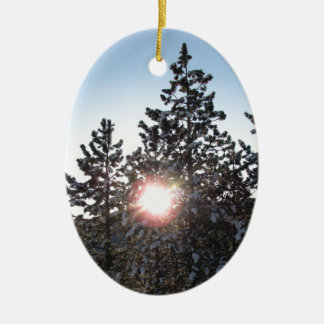 Snowy sunrise in Colorado Christmas Ornament