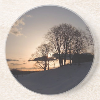 Snowy Sunset Beverage Coaster