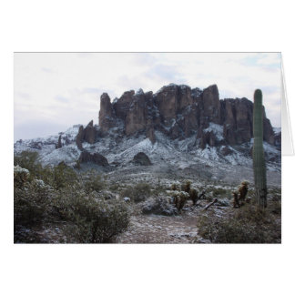Snowy Superstion Mountains Greeting Card