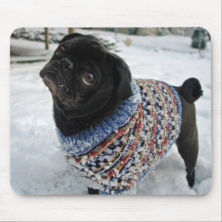 Snowy Sweater Pug Mousepad
