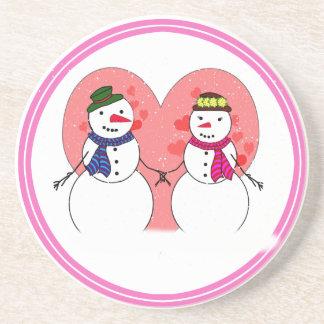 Snowy Sweethearts Beverage Coaster