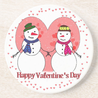 Snowy Sweethearts - Happy Valentine's Day Drink Coasters