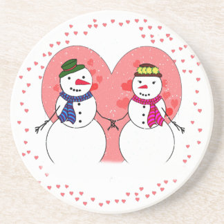 Snowy Sweethearts - Snow In Love (Add Your Text) Coaster