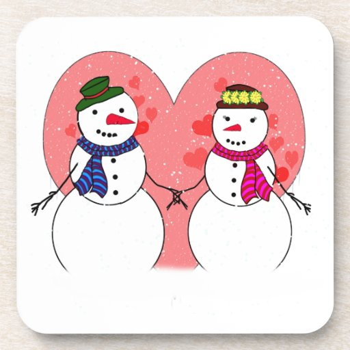 Snowy Sweethearts - Snow In Love (Add Your Text) Drink Coasters