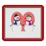 Snowy Sweethearts - Snow In Love (Add Your Text) Print