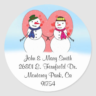 Snowy Sweethearts Round Sticker