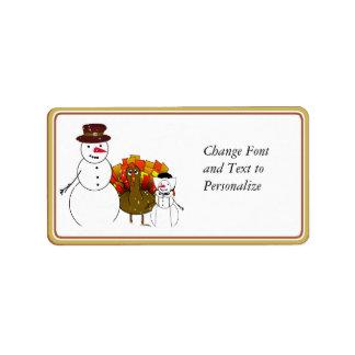 Snowy Thanksgiving Address Label