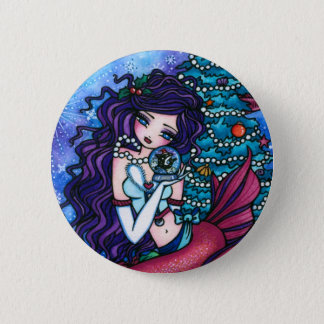 Snowy Treasures Christmas Fairy Mermaid Orca 6 Cm Round Badge