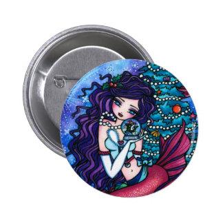 Snowy Treasures Christmas Fairy Mermaid Orca 6 Cm Round Badge