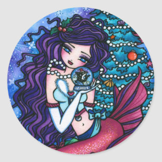 Snowy Treasures Christmas Fantasy Mermaid Orca Classic Round Sticker