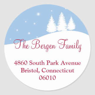 Snowy tree blue Christmas holiday address label Round Sticker