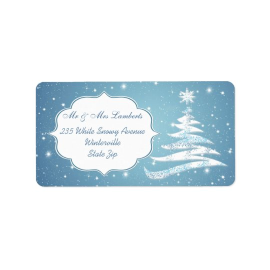 Snowy tree, snowflakes on blue Christmas Gift tag Address Label