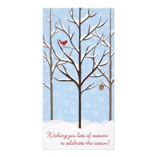 Snowy Trees Christmas Card Customized Photo Card