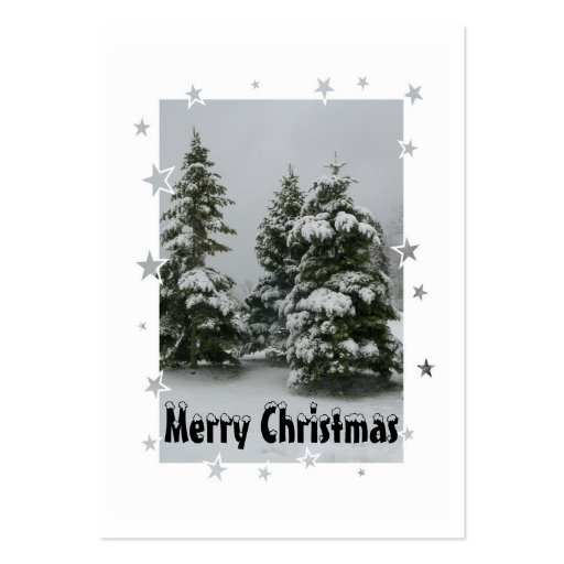 """""""Snowy Trees""""-Christmas Gift Tag Business Card"""