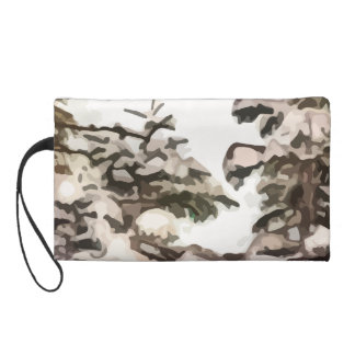 Snowy trees in the winter painting wristlet clutch