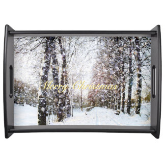 Snowy Trees Lane Holiday Landscape Merry Christmas Serving Tray