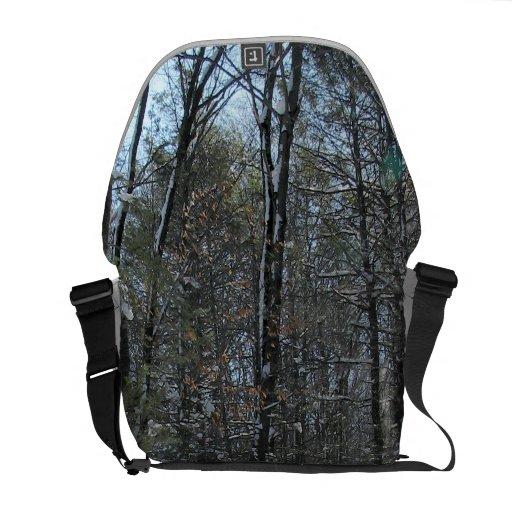 Snowy Trees Messenger Bags