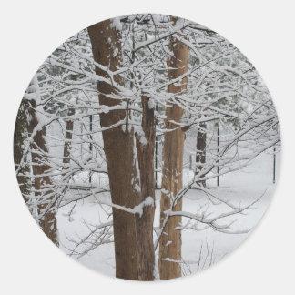 snowy trunks classic round sticker