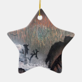 Snowy waterfall christmas ornament