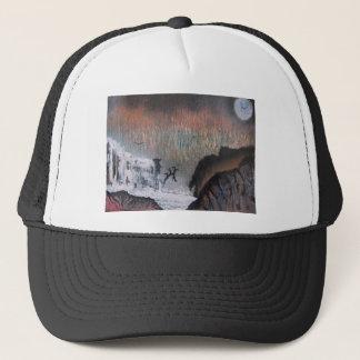 Snowy waterfall trucker hat