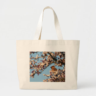 Snowy Waxwing Tote Bags