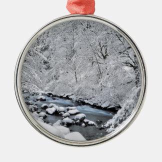 Snowy white creek scenic, Oregon Christmas Ornament