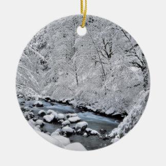 Snowy white creek scenic, Oregon Round Ceramic Decoration