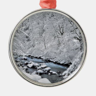 Snowy white creek scenic, Oregon Silver-Colored Round Decoration