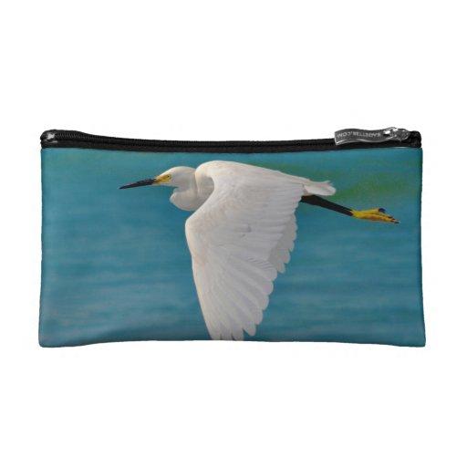 Snowy White Egret Cosmetic Bag
