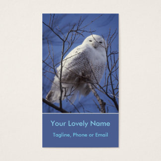 Snowy White Owl, White Arctic Bird, Sapphire Sky Business Card