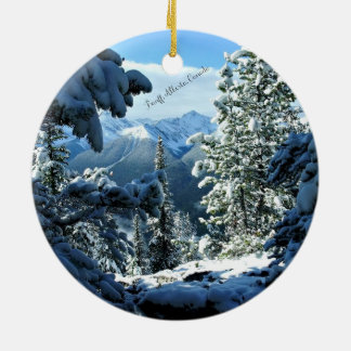 Snowy White Winter in Banff, Alberta, Canada Round Ceramic Decoration