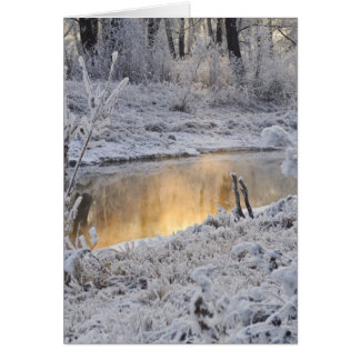 Snowy white winter landscape with light reflect card