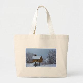 Snowy Winter Cabin at Christmas Jumbo Tote Bag