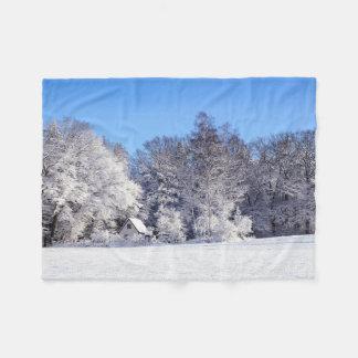 Snowy Winter Cottage Scene Fleece Blanket